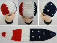 Hand Knitted Ear Band [Red/White/Blue with Stars]
